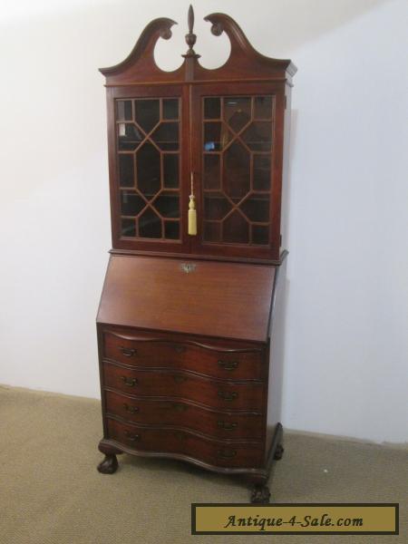57038 Antique Mahogany secretary desk with Bookcase Top for Sale - 57038 Antique Mahogany Secretary Desk With Bookcase Top For Sale In