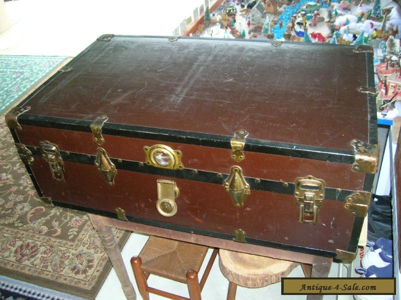 Antique 1800 S Victorian Steamer Trunk Chest Flat Top