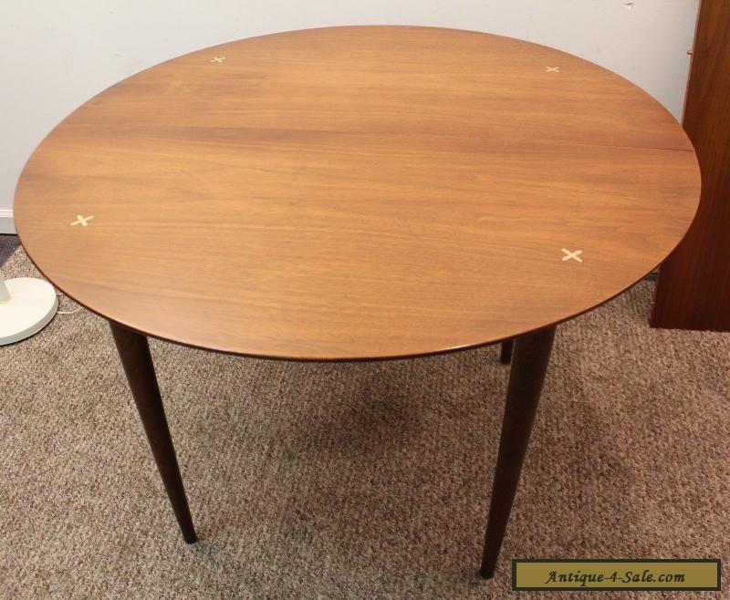 Mid century danish modern unusual round walnut extension for Unusual dining tables for sale