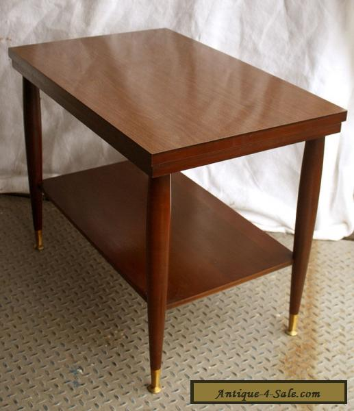 vintage mid century modern mersman mahogany wood formica side end accent table for sale in. Black Bedroom Furniture Sets. Home Design Ideas