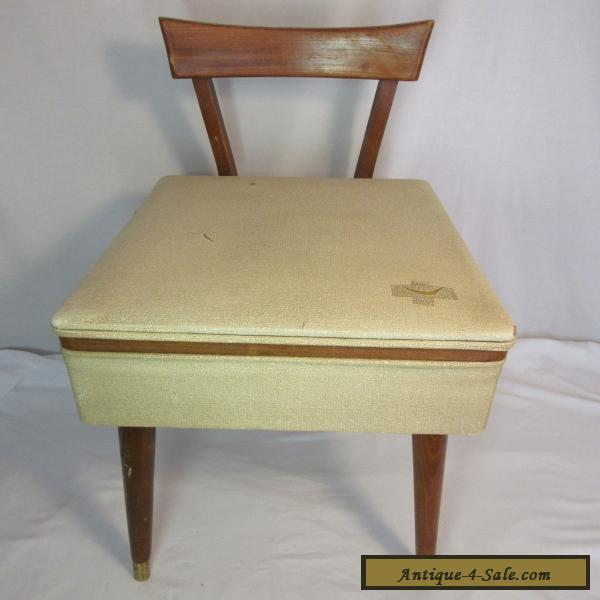 Vintage Danish Sewing Mid Century Modern Chair Wood Back With Storage For  Sale