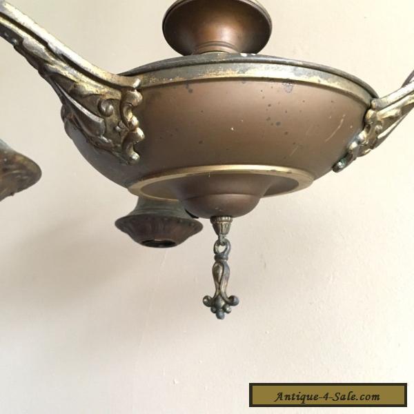 Vintage Art Deco Hanging Chandelier Light Fixture Ceiling Lamp 1920s ...