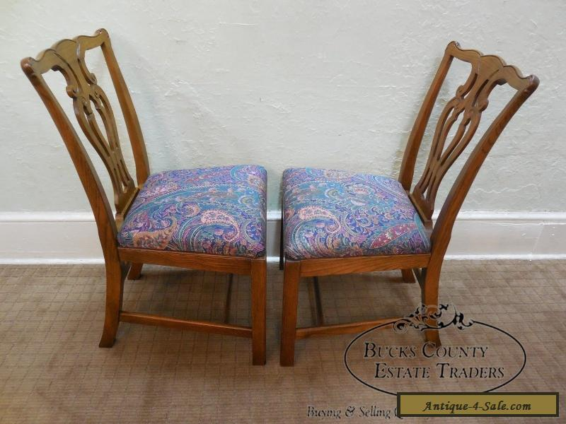 baker solid oak set of 8 chippendale style dining chairs
