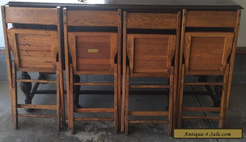 ... Vintage Snyder Antique Wood Oak Wooden Folding Chairs Set Of 4 For Sale