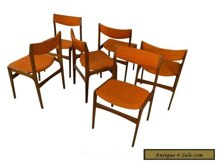 6 teak dining chairs danish mid century modern for sale in for Modern dining tables sale