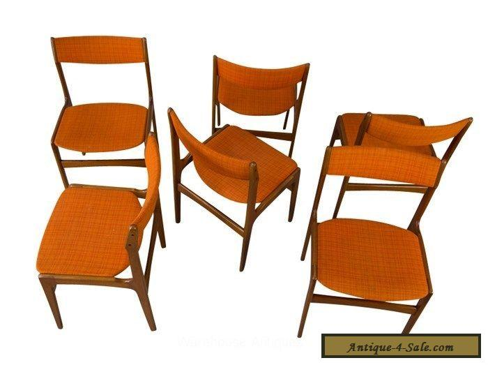 6 Teak Dining Chairs Danish Mid Century Modern For Sale In