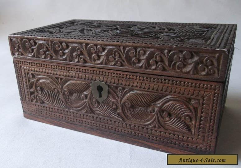 lovely antique deep carved rosewood wooden box dutch maori tiki for sale in united kingdom. Black Bedroom Furniture Sets. Home Design Ideas