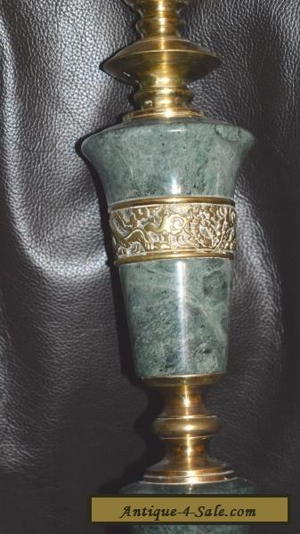 Vintage Brass Amp Turned Green Marble Table Lamp For Sale In