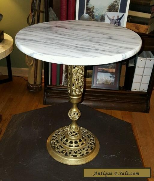 Ordinaire Vintage Marble And Brass End Table, Lamp Table, Plant Stand For Sale