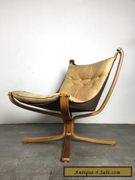 Vintage Mid Century Danish Modern Leather Falcon Sling Chair By Sigurd Res For