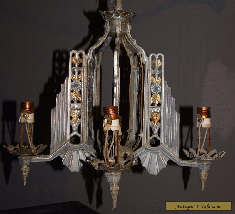 Antique Architectural ~Slip Shade~ SKYSCRAPER Style Chandelier Fixture ART  DECO for - Antique Art - Antique Art Deco Chandelier Antique Furniture