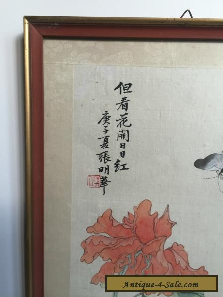 Oriental Chinese Japanese Painting On Silk Antique Vintage