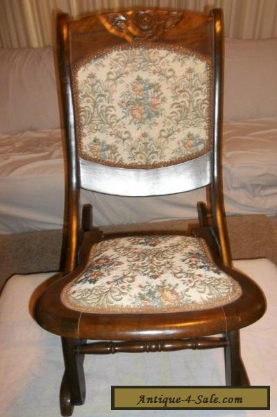 Vintage Wood Folding Rocker Rocking Chair Antique Beautiful Ornate For Sale