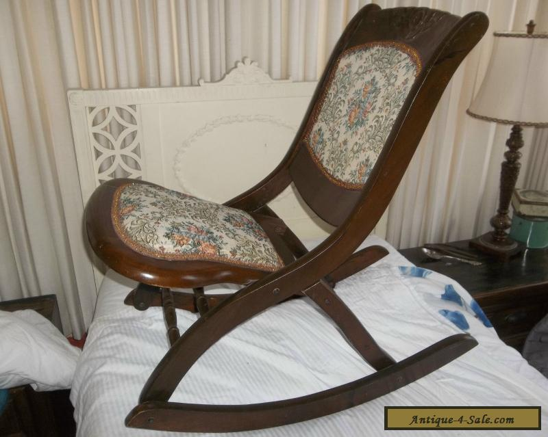 ... Vintage Wood Folding Rocker Rocking Chair Antique Beautiful Ornate For  Sale