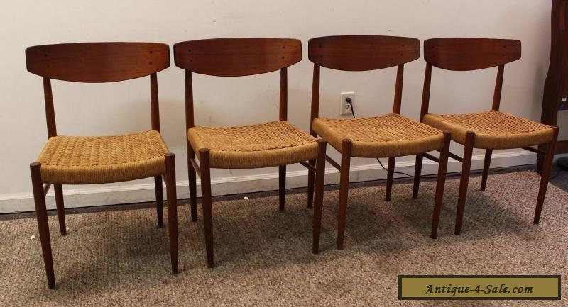 Set Of 4 Mid Century Danish Modern Rope Teak Dining Chairs For Sale