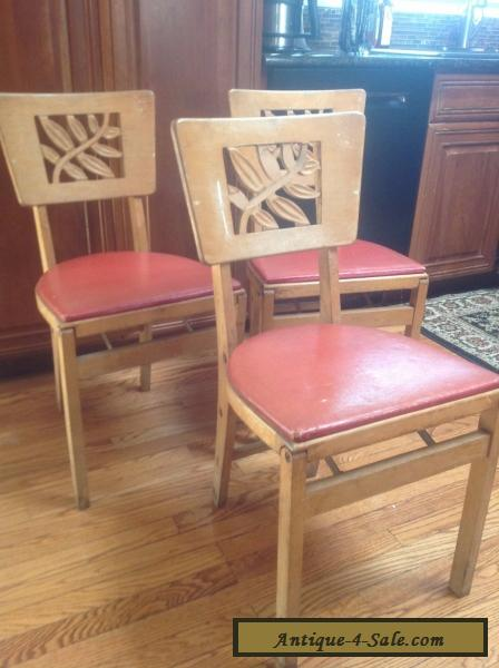 (3) Vintage Stakmore Mid Century Modern Wooden Folding Chairs For Sale