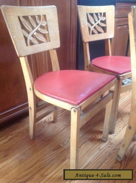 3 Vintage Stakmore Mid Century Modern Wooden Folding