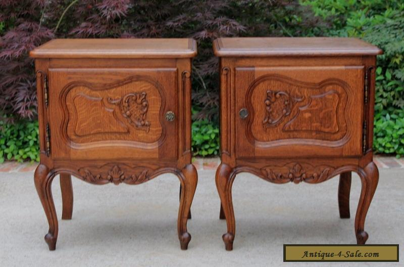 Antique French Rococo Oak PAIR Small Side Cabinets End Tables Nightstands for Sale in United States
