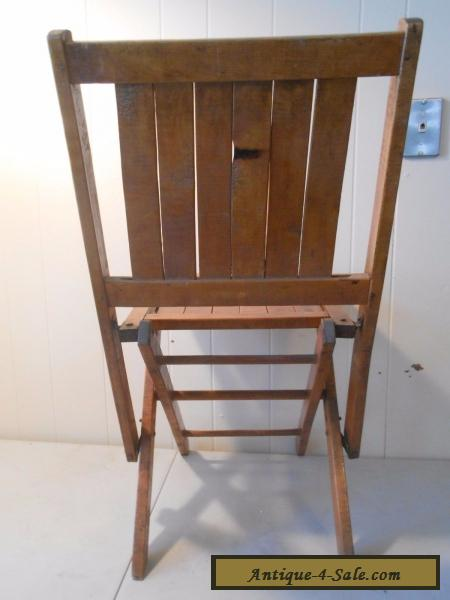 Wooden Folding Chairs Vintage Wood Slat Seat For Sale