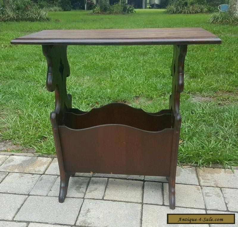 ANTIQUE VINTAGE CARVED Mahogany Magazine Rack End Table Side ACCENT Table  For Sale ...