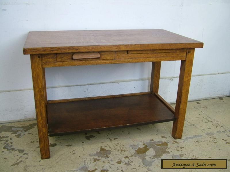 Antique Child Sized Small Quartersawn Oak Desk Repurpose As End Table For
