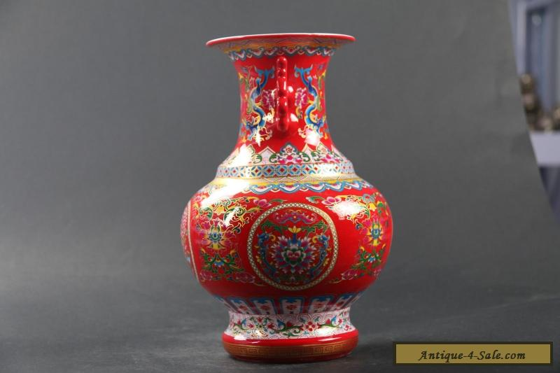 Chinese Enamel Hand Painted Flower Vase W Qing Dynasty Qianlong Mark