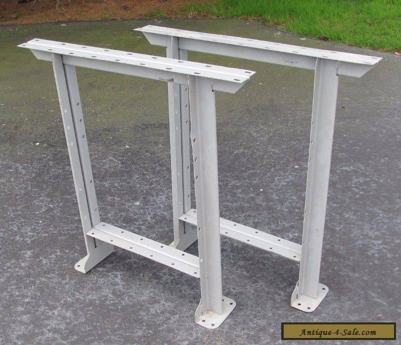 Vintage Pair Grey Industrial Mid Century Steel Work Bench Table Legs For Sale In United States