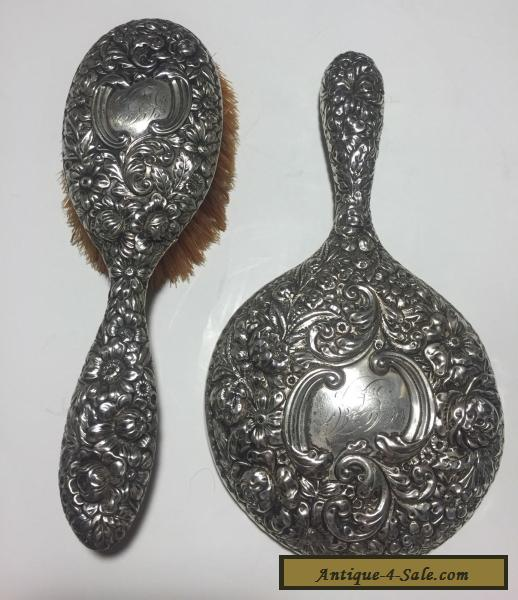 Antique Hand Mirror Value: GORHAM ANTIQUE STERLING SILVER REPOUSSE HAND MIRROR