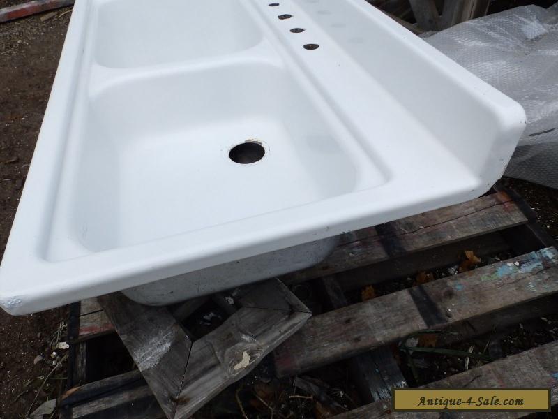 Vintage Steel White Porcelain Double Basin Deep Shallow Old Kitchen Sink  5288-15