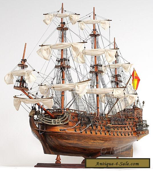 """Ships Canada Us Wide Wood Sign: San Felipe Handcrafted Wooden Tall Ship Model 37"""" Spanish"""