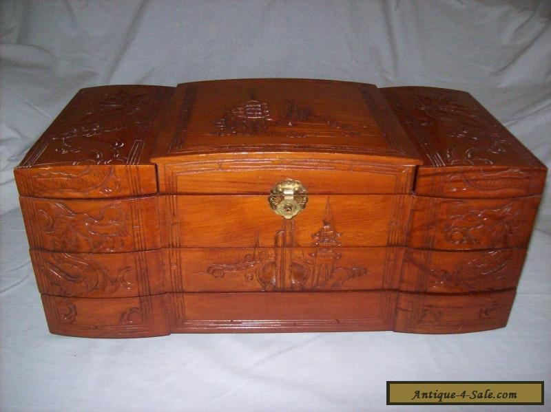 Vintage 1950s Large Asian Carved Wooden Jewelry Box for Sale in