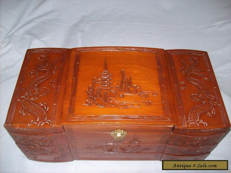 Vintage 1950s Large Asian Carved Wooden Jewelry Box For