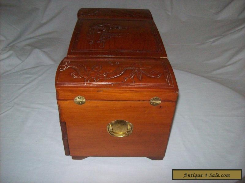 vintage 1950s large asian carved wooden jewelry box for sale in united kingdom. Black Bedroom Furniture Sets. Home Design Ideas