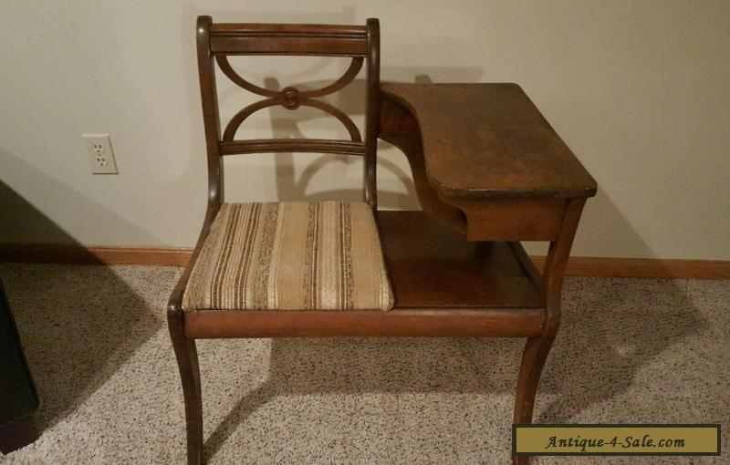 ANTIQUE WOODEN GOSSIP BENCH PHONE TABLE  Vintage Desk For Sale Antique Wooden Bench93