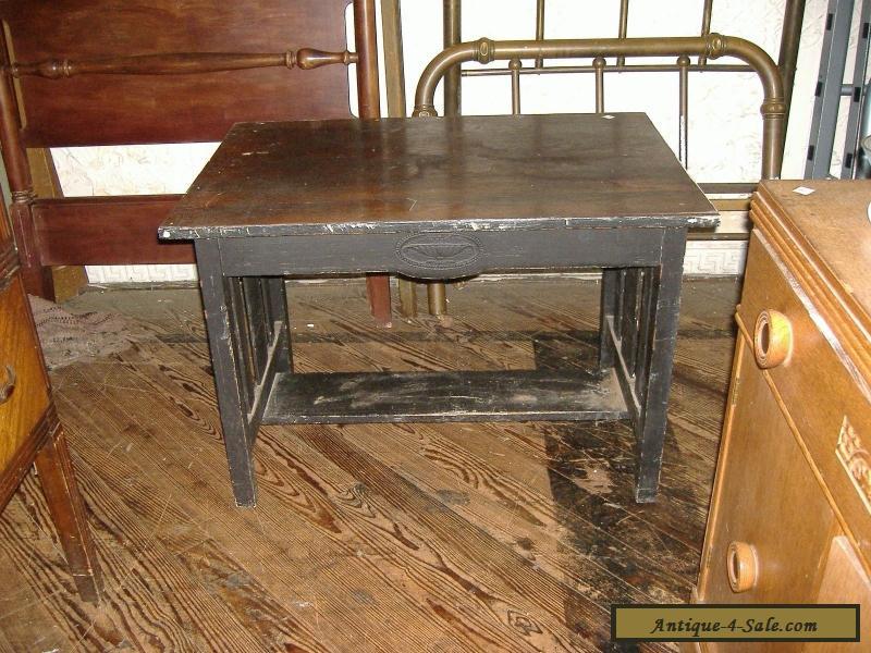 Mission Oak Library Table Computer Desk Arts Crafts Vintage Antique For Sale