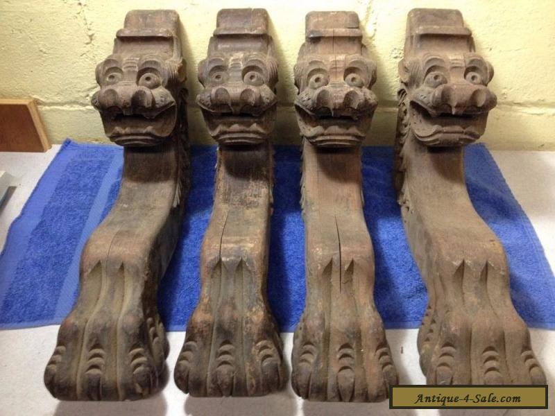 4 Vintage Antique Carved Wood Claw Feet Face Table Legs