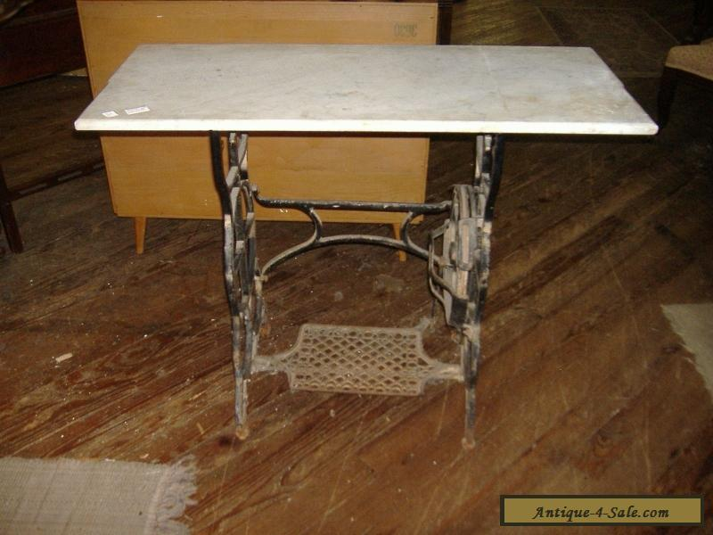 Marble Top Iron Sewing Machine Table Vintage Antique Urban