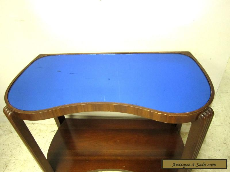 Vintage Antique Art Deco Cobalt Blue Mirror Glass Top Hall Stand End Side Table For
