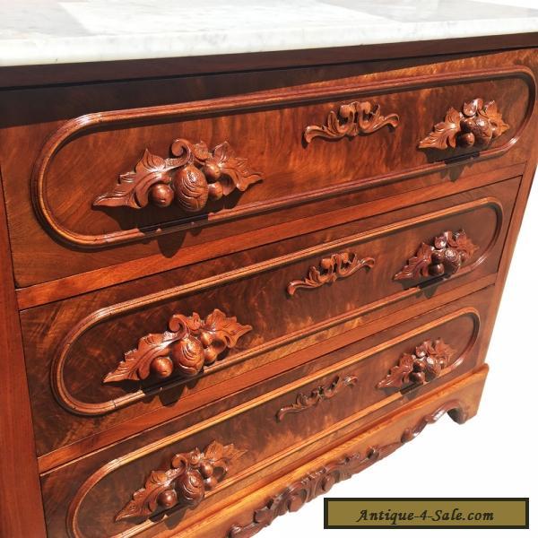 Antique Eastlake Carved Walnut Marble Top Dresser W Glove