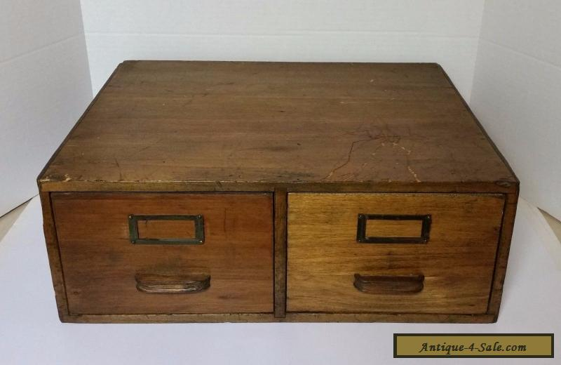 Antique Globe Wernicke 2 Drawer Library Card Index File Cabinet Oak Wood  For Sale
