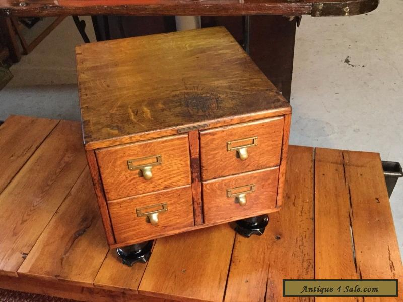 ANTIQUE 4 DRAWER TIGER OAK TABLE TOP LIBRARY CARD FILE CABINET For Sale ...