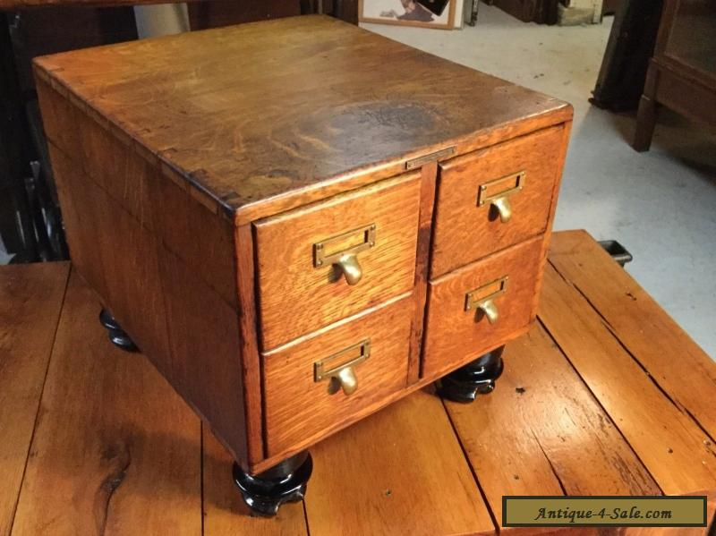 file cabinet sale antique 4 drawer tiger oak table top library card file 15348