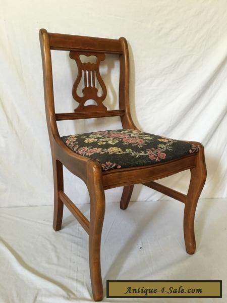 Beautiful Antique Vintage Needlepoint Wood Harp Lyre Chair