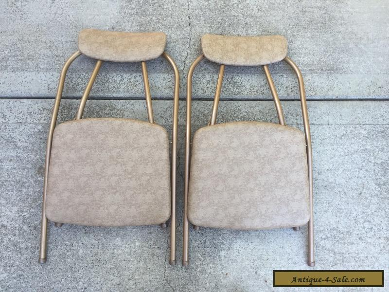 Vintage COSCO Folding Chairs Card Table Stylaire Hoop Mid Century - Mid century modern card table