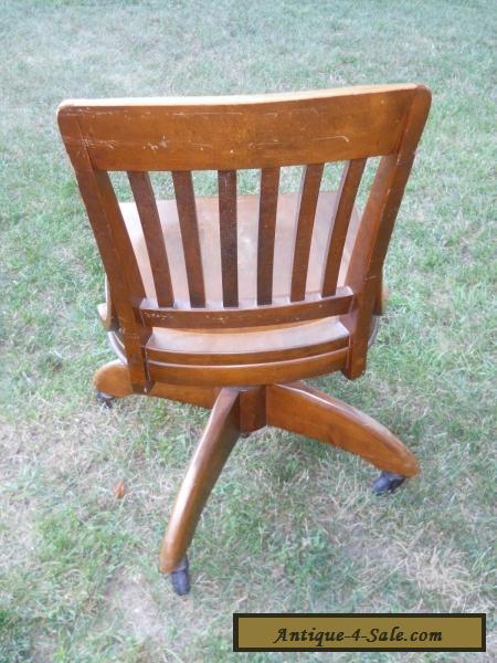 Antique Oak Swivel Bankers Chair Barrel Office Desk Chair