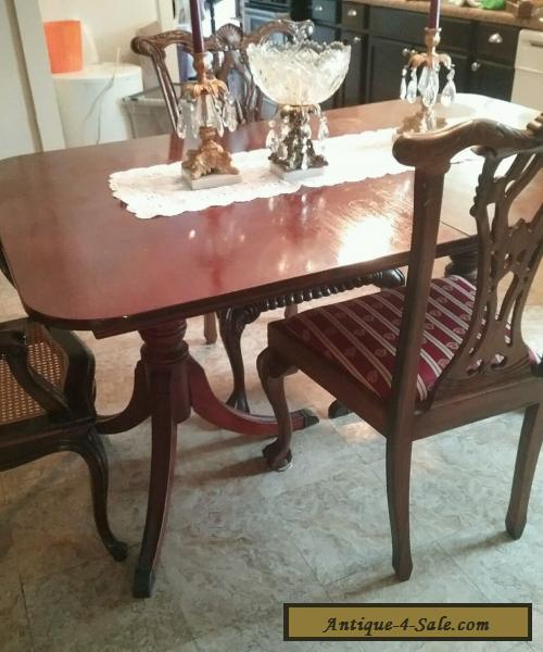 Vintage Duncan Phyfe Sheraton Style Mahogany Dining Table Mid - Mid century pedestal dining table