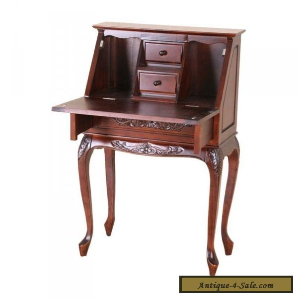 Victorian Style Fold Out Secretary Desk Solid Hand Carved