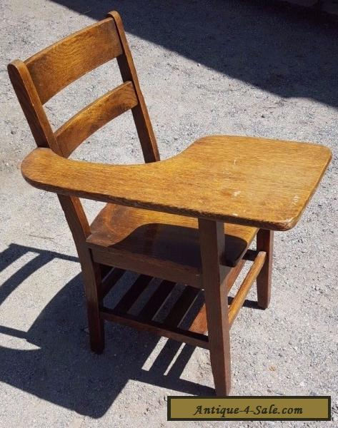 Antique School Desk Chair wood tiger oak Mission Style Americana for Sale - Antique School Desk Chair Wood Tiger Oak Mission Style Americana For