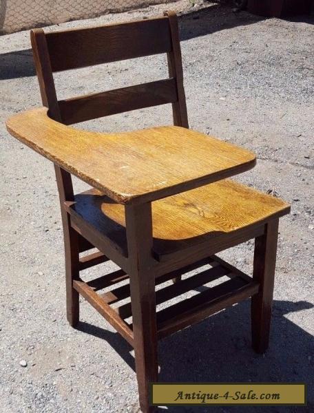 Antique School Desk Chair wood tiger oak Mission Style Americana for Sale  ... - Antique School Desk Chair Wood Tiger Oak Mission Style Americana For