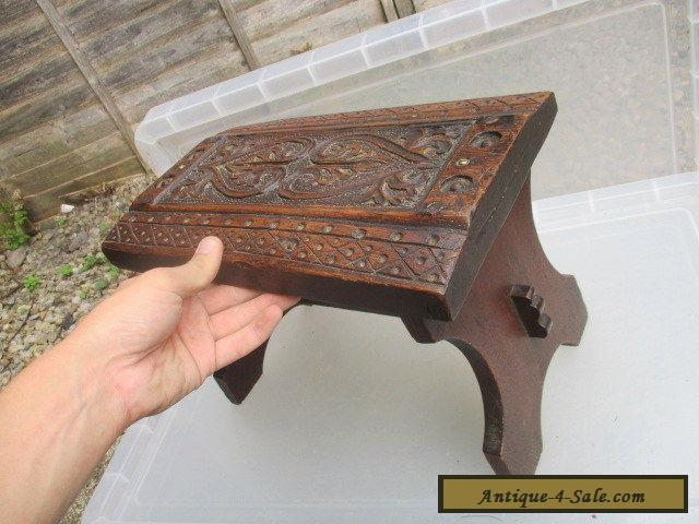 Small antique oak stool bench seat carved wood jacobean